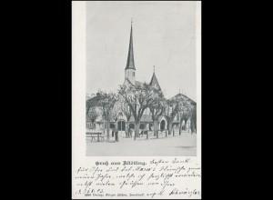 AK Gruss aus Altötting: Kapellplatz mit der Gnadenkapelle, 9.1.03 nach Straubing