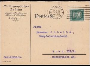 Firmenlochung BI auf Beehoven 8 Pf. auf Postkarte LEIPZIG MESSESTADT 10.5.28