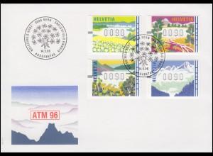 Schweiz ATM 7-10 Landschaften in den vier Jahreszeiten Schmuck-FDC Bern 14.5.96