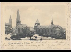 AK Gruss aus Essen a.d. Ruhr Münsterkirche, nach GELDERN 9.12.1900