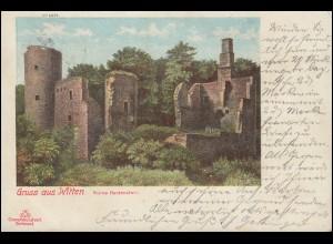 AK Gruss aus Witten Ruine Hardenstein, 5.5.1900 nach PEGNITZ STADT 6.5.00