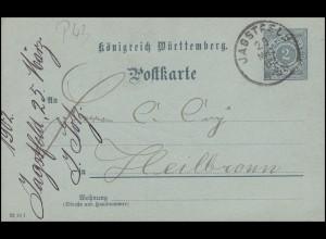 Württemberg P 43 Ziffer 2 Pf. Papier bläulich, JAGSTFELD 25.3.02 nach Heilbronn