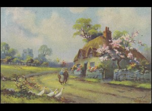 Ansichtskarte Gemälde Frühling im Dorf, EF DOBROWITZ 12.5.43 nach Komenského