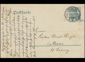 Postkarte P 78 Germania 5 Pf. OESLAU 26.4.09 nach Ahorn / Coburg