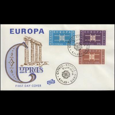 Zypern 225-227 Europa / CEPT 1963 kompletter Satz auf Schmuck-FDC 4.11.63