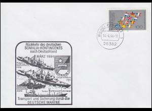 Deutsche Marine Kriegsschiffe Rückkehr SOMALIA-Kontingent, Wilhelmshaven 14.4.94