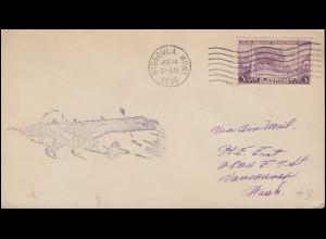 388 Eigenstaatlichkeit Oregons: Karte von Oregon, Brief MISSOULA / MON 14.6.1936