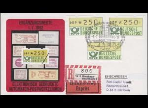 1.1 ATM-Ergänzungswerte 2mal 250 + 130 Pf auf Eil-R-FDC Ransbach ESSt 1.7.82