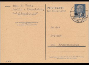 DDR P 63 Pieck Doppelkarte 10 auf 12 Pf BERLIN-EUMMELSBURG 9.8.1955 und zurück