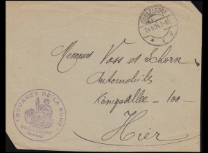 Französischer Zoll-Stempel DOUANES DE LA RUHR Fürstenwall DÜSSELDORF 24.5.1924