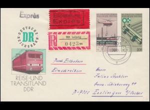 412-415 Fische - Satz auf R-Brief SSt MÜNCHEN Besuch Elisabeth II. 21.5.1965