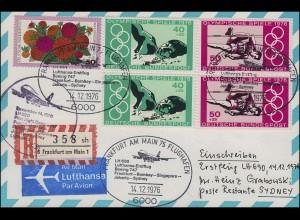 1801-1806 Die Schneekönigin Kleinbogen EF auf Brief MÜNCHENBERNSDORF 10.10.73
