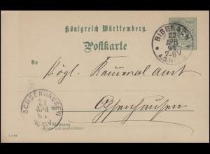 Württemberg P 37 Ziffer 5 Pf DV 5 2 94, BIBERACH 23.4.94 nach OCHSENHAUSEN 23.4.