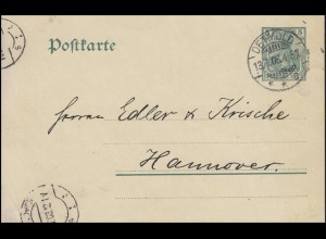 Postkarte P 78 Germania 5 Pf. von DETMOLD 13.7.08 nach HANNOVER 14.7.08