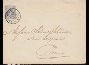Niederlande Umschlag U 7 Wilhelmine 12 1/2 C grau AMSTERDAM 25.4.1898 nach Paris