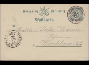 Württemberg P 34 Ziffer 5 Pf ohne DV, ESSLINGEN BAHNHOF17.5.90 nach KIRCHHEIM