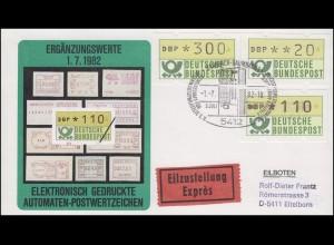 1.1 Drei ATM-Ergänzungswerte 20+110+300 Pf auf Eil-Schmuck FDC ESSt 1.7.1982
