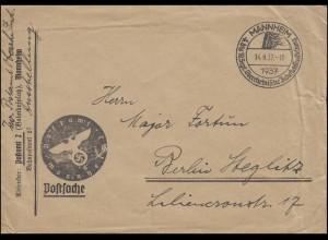 Briefstempel Postamt Mannheim auf Postsache SSt MANNHEIM 14.9.1937 nach Berlin