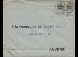 12 Gemania Aufdruck 2x 5 Cent. auf 5 Pf Brief 9.1.18 an Firma Lloyd in Antwerpen