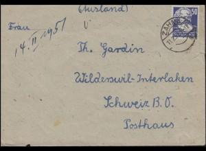 224 Karl Marx 50 Pf. als EF auf Auslandsbrief ZAHNA 11.2.51 in die Schweiz