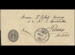 Schweiz Streifband Ziffer 2 C. schwarz, LOCLE 3.8.06 nach PESEUX 3.8.1906