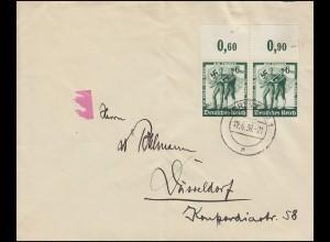 662 Volksabstimmung als Oberrand-Paar MeF Brief DORTMUND 12.6.38 nach Düsseldorf