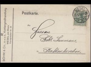 Germania EF Postkarte Kohlengroßhandel Böhm WESEL 29.5.13 nach Kaldenkirchen