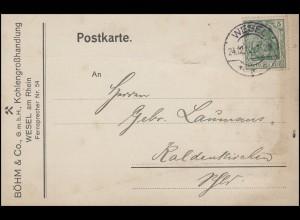 Germania EF Postkarte Kohlengroßhandel Böhm WESEL 24.12.12 nach Kaldenkirchen