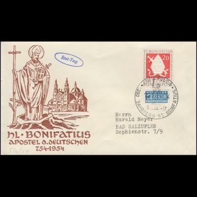 199 Hl. Bonifatius - Apostel der Deutschen EF Schmuck-FDC ESSt FULDA 5.6.1954