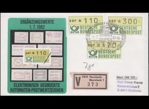 1.1 Drei ATM-Ergänzungswerte 70+110+300 Pf auf Wert-FDC Ransbach ESSt 1.7.82