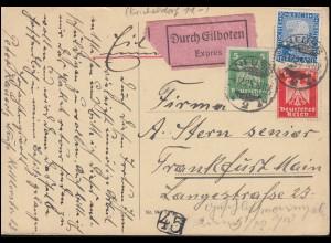 356+357+374 Reichsadler-Rheinland-Mischfrankatur Eil-Postkarte NEUSS 4.12.1925