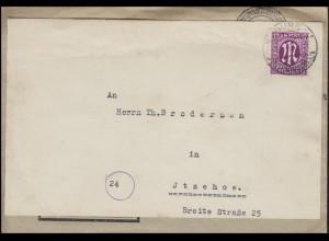 AM-Post 12 Pf. EF wiederverwendeter Brief NotarSchmidt BURG 8.1.46 nach Itzehoe