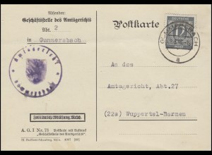920 Ziffer 12 Pf. EF Postkarte Amtsgericht GUMMERSBACH 2.8.46 nach Wuppertal