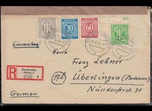 2+3 AM-Post mit 924+933 Gemeinschaft MiF R-Brief KARLSRUHE 2.6.46 n. ÜBERLINGEN