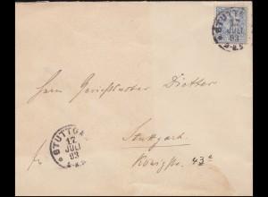 Privatpost Stuttgart 3 Springendes Pferd 3 Pfennig EF Brief STUTTGART 17.7.1893