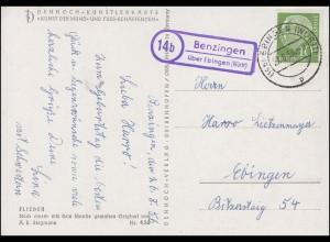 Landpost Benzingen über EBINGEN (WÜRTT) 27.8.56 auf Künstlerkarte Flieder