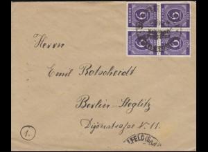 916 Ziffer 4x6 Pf. Viererblock MeF Brief SSt SAALFELD (SAALE) 1946 nach Berlin