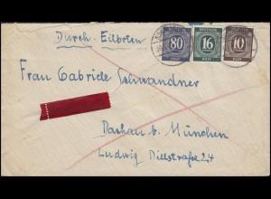 918+923+935 Ziffer 10+16+80 Pf. MiF Eil-Brief SONTHOFEN 30.1.46 nach Dachau