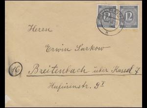 920 Ziffer 2x 12 Pf. MeF Fern-Brief HALBERSTADT 8.12.46 nach Breitenbach/Kassel