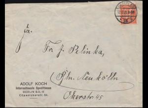 163 Ziffer 40 Pf als EF auf Orts-Brief BERLIN SO - 12.12.21 nach Berlin-Neukölln