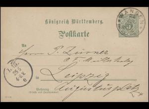Postkarte P 37 mit DV: 13 1 99 von WANGEN 24.6.99 nach Leipzig L.13.e -25.6.