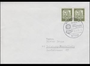 350y Bedeutende Deutsche 10 Pf. Paar auf Brief SSt WINTERBERG Kurort 10.8.1965