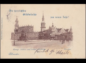 AK Königl. Schloss und kathol. Hofkirche DRESDEN 31.12.1897 nach LEIPZIG 1.1.