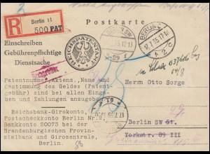 Gebührenspflichtige Dienstsache als Orts-R-Postkarte Patentamt BERLIN C2-17.7.35