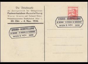 Die Briefmarke - Spiegelbild der Weltgeschichte AK Urania ruft! SSt WIEN 3.11.36