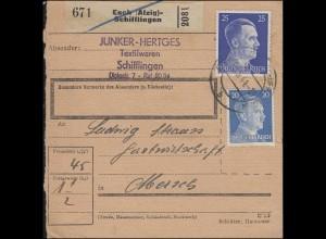 Hitler-Mischfrankatur Paketkarte ESCH (ALZIG) - SCHIFFLINGEN 3.4.44 nach MERSCH