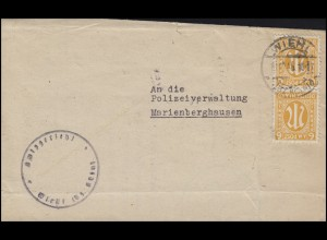 AM-Post 2x 6 Pf. Bf. Amtsgericht Wiehl / Bz. Köln 18.10.45 nach Marienberghausen