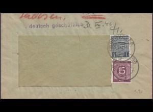 81 Wappen 1 Pf mit 921 Ziffer 15 Pf. lila, MiF auf Brief BERNBURG 29.3.46