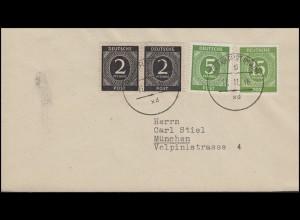 912+915+922 Ziffern Brief aptierter Stempel FRANKFURT 5 - 11.11.46 nach München
