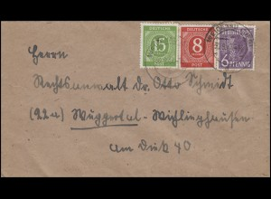 Kontrollrat I+II MiF Brief WEIDENAU (SIEG) 30.9.47 nach Wuppertal-Wichlinghausen